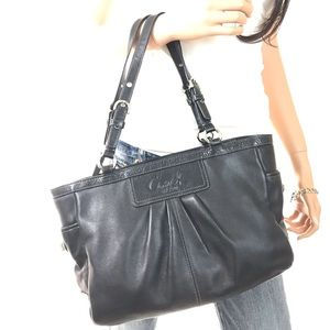 COACH Black Leather Pleated Tote #13759